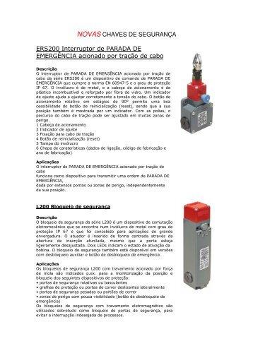 NOVAS CHAVES DE SEGURANÇA ERS200 ... - Leuze Electronic