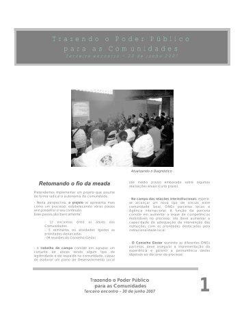 Informativo Campinho - 3° encontro - Instituto de Desenvolvimento e ...