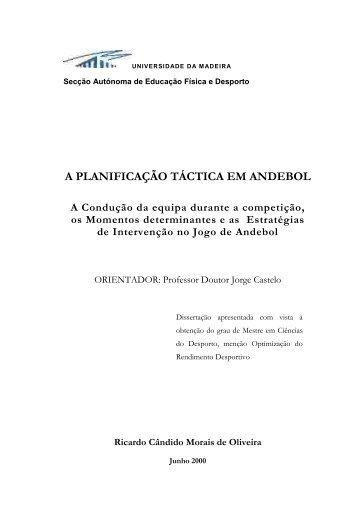 a planificação táctica em andebol - DigitUMa - Universidade da ...