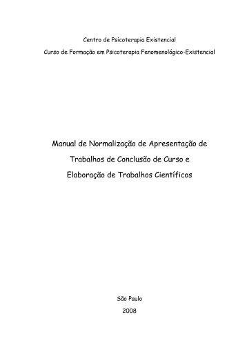 Manual de Normas Técnicas Para Elaboração de ... - Psico Existencial