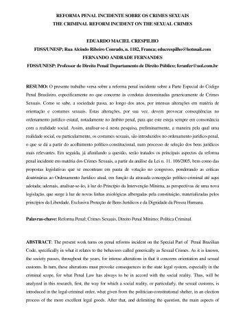 reforma penal incidente sobre os crimes sexuais the criminal reform ...