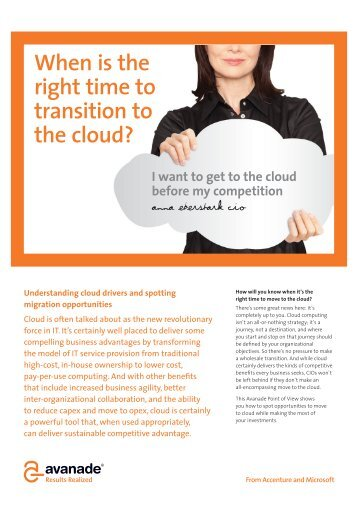 Point of View: Is there a right time to move to the cloud? - Avanade