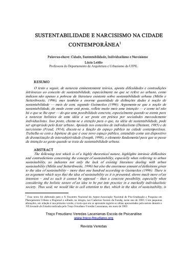 sustentabilidade e narcisismo na cidade contemporânea - revistas ...