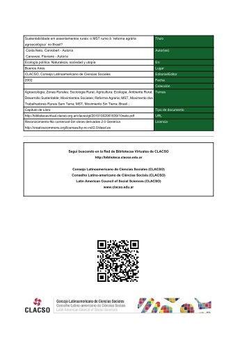 Sustentabilidade em assentamentos rurais: o MST rumo ... - CLACSO
