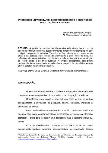 professor universitário: compromisso ético e estético de - UFTM