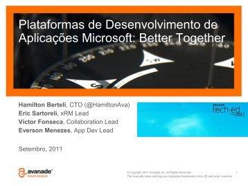 Plataformas de Desenvolvimento de Aplicações Microsoft ... - Avanade