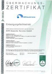Zertifikat AVR Gewerbe Service GmbH herunterladen