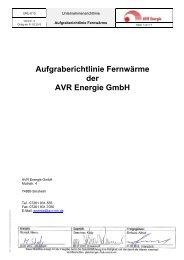 Aufgraberichtlinie Fernwärme der AVR Energie GmbH