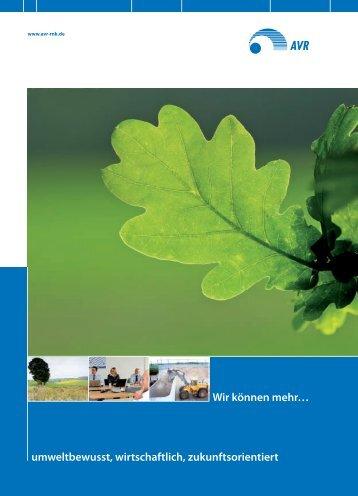 umweltbewusst, wirtschaftlich, zukunftsorientiert Wir können ... - AVR
