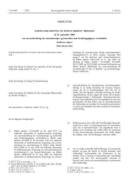 Europa-Parlamentets og RÃ¥dets direktiv 2009/103/EF - EUR-Lex ...