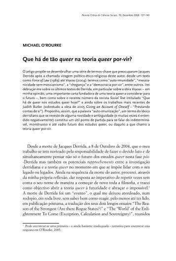 Que há de tão queer na teoria queer - Centro de Estudos Sociais