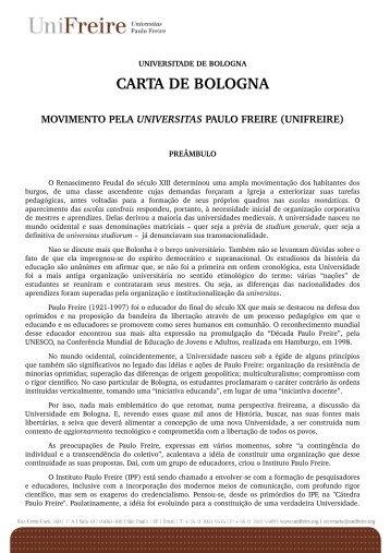 CARTA DE BOLOGNA - Instituto Paulo Freire