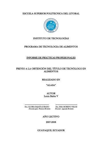 Informe de Practicas Profesionales ALASA.pdf - DSpace en ESPOL
