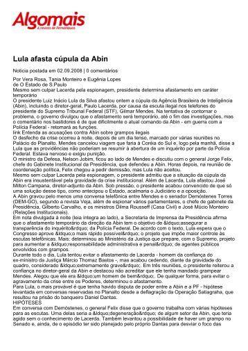 Lula afasta cúpula da Abin - Revista Algomais