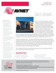 Avnet Investor FY 2007 1st Quarter Fact Sheet - Avnet, Inc.