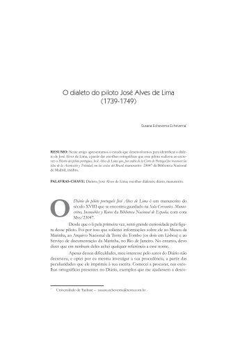 O dialeto do piloto José Alves de Lima - fflch