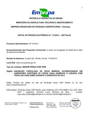 Edital 01/2013 - Embrapa Solos / UEP Recife