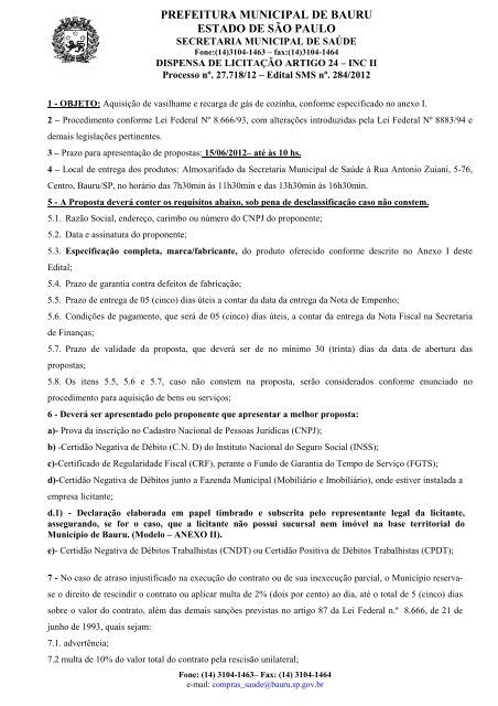 27.718- 12 - DL - vasilhame e recarga de GLP - Prefeitura Municipal ...
