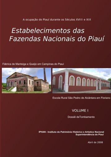Estabelecimentos das Fazendas Nacionais do Piauí - Portal do Sertão