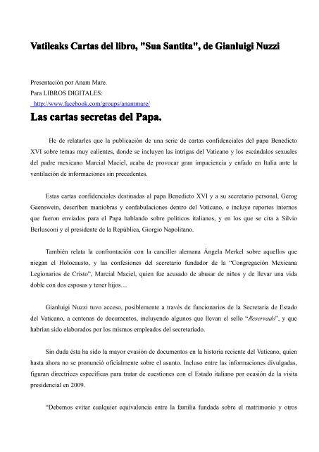 Vatileaks Sua Santita Letters En Español