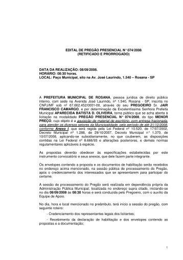 Aquisição de material de - Prefeitura Municipal de Rosana