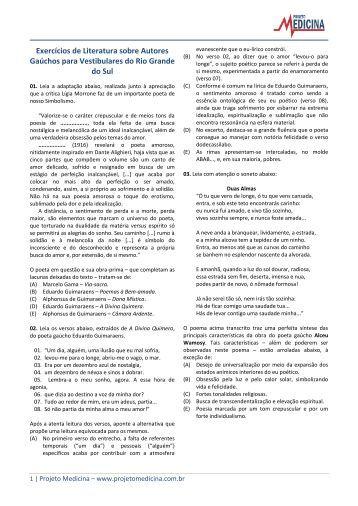 Exercícios de Literatura sobre Autores Gaúchos ... - Projeto Medicina
