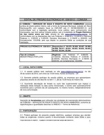 EDITAL DE PREGÃO ELETRÔNICO Nº. 039/2012 – COMUSA