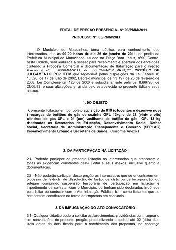 Pregão Presencial nº03- Aquisição de botijão de gás - Prefeitura de ...