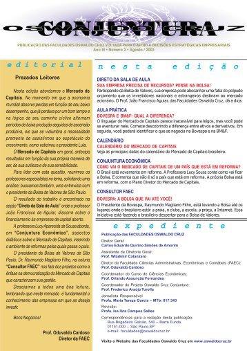 Agosto - Faculdades Oswaldo Cruz