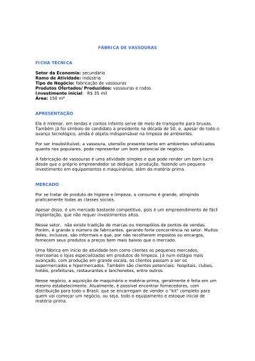 FÁBRICA DE VASSOURAS FICHA TÉCNICA Setor da Economia ...