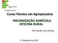 Curso Técnico em Agropecuária MECANIZAÇÃO AGRÍCOLA OFICINA RURAL