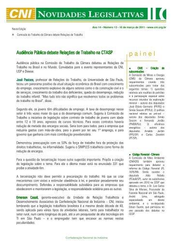 Encaminhamos o Informativo Novidades Legislativas CNI ... - Fiec