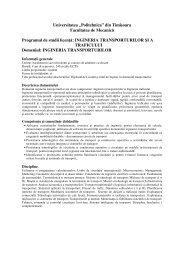 INGINERIA TRANSPORTURILOR - Universitatea ``Politehnica`` din ...