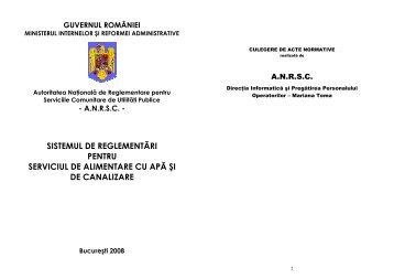 Autoritatea Naţională de Reglementare pentru Serviciile ... - anrsc