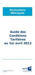 Conditions tarifaires applicables au 1er avril 2013 - Bred