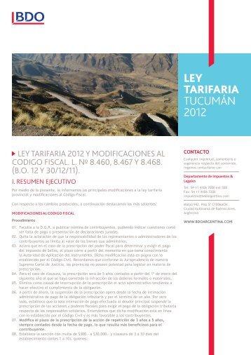 LEY TARIFARIA tucumán 2012 - BDO Argentina