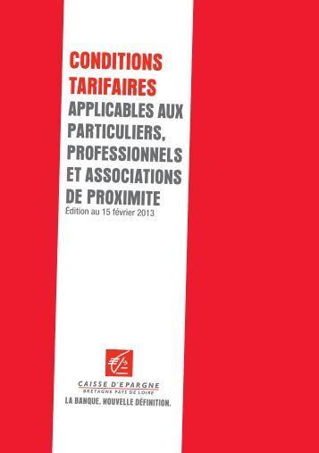 Conditions tarifaires applicables aux particuliers ... - Caisse d'épargne