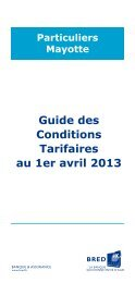 Guide des Conditions Tarifaires au 1er avril 2013 - Bred