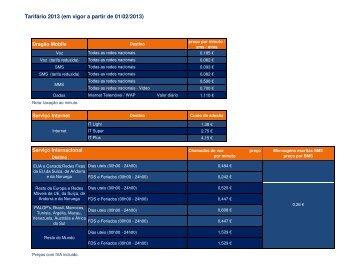Tarifário 2013 (em vigor a partir de 01/02/2013) - FC Porto