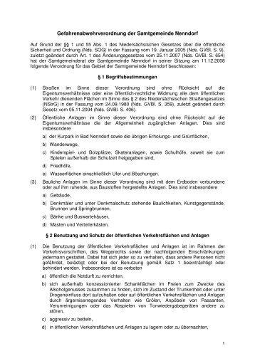 Gefahrenabwehrverordnung der Samtgemeinde ... - in Bad Nenndorf