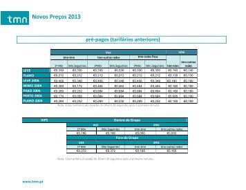 Novos Preços 2013 - TMN