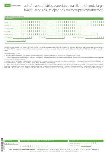 adesão aos tarifários especiais para clientes banda larga ... - Vivanet