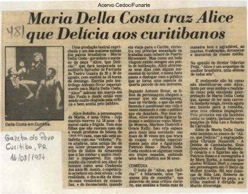 Maria Della Costa traz Alice - Funarte