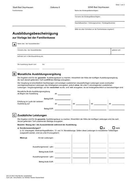 Ausbildungsbescheinigung Bad Oeynhausen