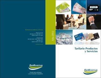 Tarifario Productos y Servicios - Banco de Reservas