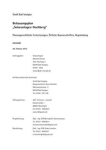 """Bebauungsplan """"Solaranlagen Hochberg"""" - Stadt Bad Saulgau"""