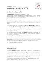 Newslettter September 2007 (pdf) - Werkstatt für Theater