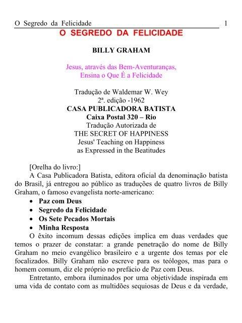 Billy Graham Segredo Da Felicidade Pdf