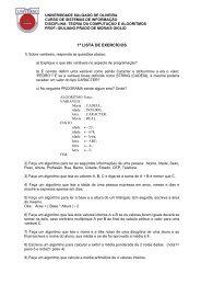 2) Dado as seguintes informaes de um funcionrio ... - Giuliano Prado