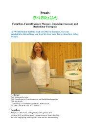 Fusspflege, Fussreflexzonen-Massage, Ganzkörpermassage und